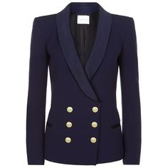 Pierre Balmain Tuxedo Military Blazer (1,160 CAD) ❤ liked on Polyvore featuring outerwear, jackets, blazers, balmain, coats, double breasted tuxedo, tuxedo jacket, tux jacket, navy blazer and blue tuxedo jacket
