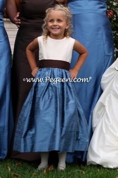 Ivory, Arial Blue and Chocolate Brown flower girl dress