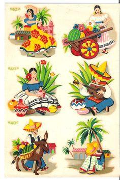 Vintage Duro Decal Retro Mexican Folk by MagpieMarysMarket on Etsy