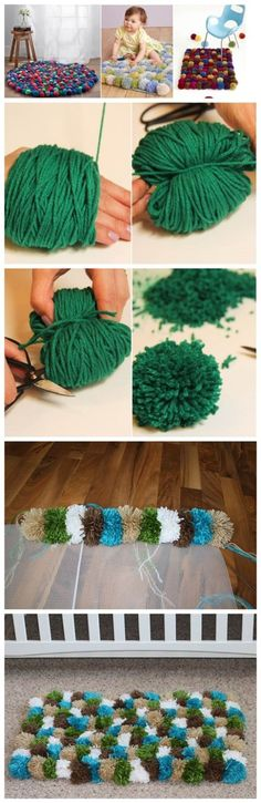30 Adorable DIY Pom Pom Decorations I need more pompoms in my life Cute Crafts, Yarn Crafts, Diy And Crafts, Crafts Cheap, Diy Pom Pom Rug, Pom Poms, Pom Pom Mat, How To Make A Pom Pom, How To Make Diy