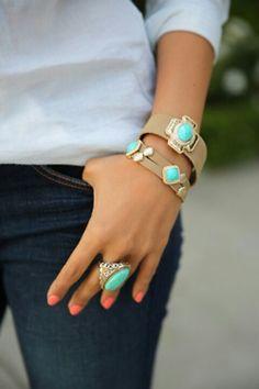Blue ring and bracelet