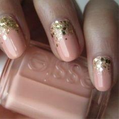 Weddbook ♥ Creative and unique wedding nail design. Peach and gold glitter half moon wedding nail design. Modern bridal nails (via cute polish) halfmoon sparkle glitter polish nail peach