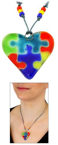 Autism Awareness Artisan Glass Heart Necklace at The Autism Site