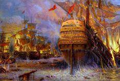 destruction of the Turkish fleet at Navarino (20 October 1827) - Greek War of Independence