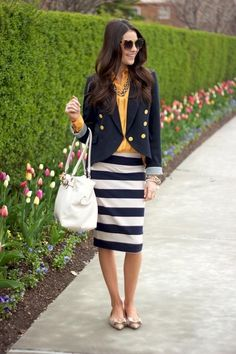 spring office wear. must. find. striped. skirt.