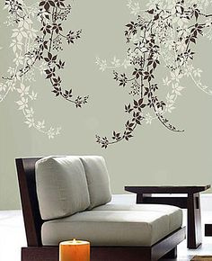 Cutting Edge Stencils - Virginia Creeper Stencil. $39.95. See more Flower and Vine Stencils: http://www.cuttingedgestencils.com/stencils-flower-stencil.html >> #flowerstencils #vinestencils