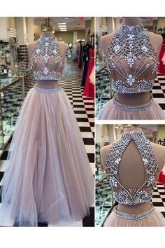Charming Two Piece Prom/Evening Dress White Floor-Length Backless Tulle Rhinestone