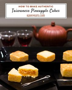 Taiwanese pineapple cakes in serving dish, individual ones on plates, and tea and tea pot behind Cupcake Recipes, Baking Recipes, Dessert Recipes, Asian Desserts, Asian Recipes, Japanese Recipes, Tea Snacks, Rhubarb Cake, Rhubarb Recipes