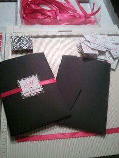 You're Invited! :  wedding black diy invitation invitations pink pocketfold white Invitation