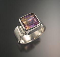Natural Ametrine anillo de plata esterlina bisel engastado este-oeste amplia banda rectangular de piedra anillo