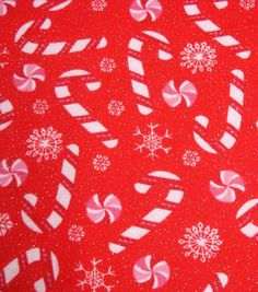 Holiday Inspirations Fabric-Christmas Candy Canes Flannel Glitter