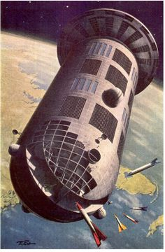 Around this core would be constructed an enormous space station, dwarfing the 200-foot wheel von Braun wanted to create. Romicks colony would consist of a huge, zero-gravity cylindrical dry dock over 1500 feet long and 1000 feet in diameter. It would have a total volume of about 3 billion square feet. At one end would be a 1500-foot rotating disc that would be inhabited by 20,000 people.