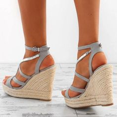 2f3d63dd935 Sexy strappy caged high platform wedge sandal with braided jute ...