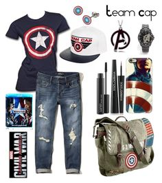 """""""In The End- I'm Team Cap"""" by mystic-punk ❤ liked on Polyvore featuring Marvel, Hollister Co., Casetify, Dolce&Gabbana, MAC Cosmetics, contestentry and CaptainAmericaCivilWar"""