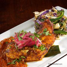 pescado del dia | cobia, cabbage, poblano, lentils, habanero-tomato sauce