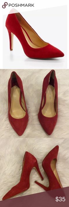 Gianni Bini Robynn Suede Red Pump Red suede material. The classic pump look, that would dress up any dark colored outfit. The heel is about 3 inches. Very comfortable, and easy to walk in.  I have worn these a few times, but can only be apparent from the bottoms of the shoes.  True to size Gianni Bini Shoes Heels