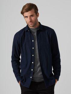 Pinstripe Flannel Shirt in Dark Sapphire