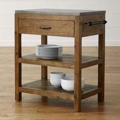 Bluestone Reclaimed Wood Small Kitchen Island - Crate and Barrel