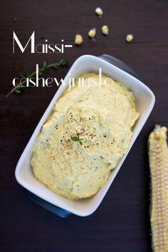 Corn and Cashew Cheese with Sage - Salvialla maustettu Maissi-cashewjuusto (Raw) | Keittiökameleontti