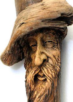ORIGINAL TREE SPIRIT WOOD CARVING RUSTIC CABIN HOBBIT WIZARD OOAK NANCY TUTTLE