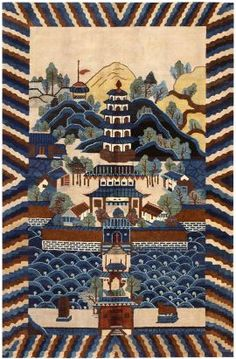 Chinese Deco Rug with Pagoda Scene Asian Rugs, Tibetan Rugs, Art Deco Rugs, Carpets Online, Painted Rug, Chinese Art, Chinese Rugs, Oriental Design, Stained Glass Panels