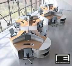 Centaur 120 Degree Desks can be used individually, but more usually in clusters of three or six. The workstation versions incorporate an integral pedestal to left or right. Open Office Design, Open Space Office, Creative Office Space, Corporate Office Design, Office Workspace, Home Office, Interior Design Degree, Office Interior Design, Office Floor Plan