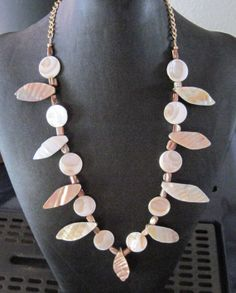 Mother of Pearl & Shell Necklace by MissBusyBeeJewelry on Etsy, $24.00