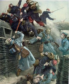 French soldiers attack a German trench. By Antonio Mayorales