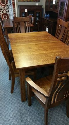 """Quarter Sawn White Oak 48 x 72"""" Leg Table with Larson Dining Chairs"""