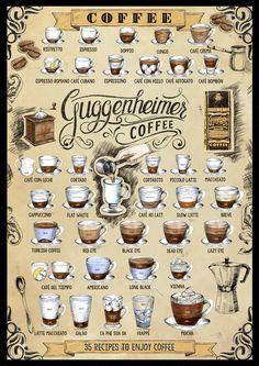 Poster - 35 Kaffee Rezepte - 50 x 70cm - Guggenheimer Coffee: Supreme Slow Roasted
