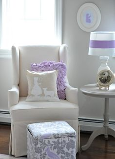 gray, cream, and lilac....wall color is benjamin moore revere pewter- potential girl nursery colors?
