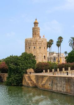 Torre del Oro in Seville - Andalusia, Spain Romantic Places, Beautiful Places, Cool Places To Visit, Places To Travel, Spain And Portugal, Spain Travel, Wonders Of The World, Granada, Travel Inspiration