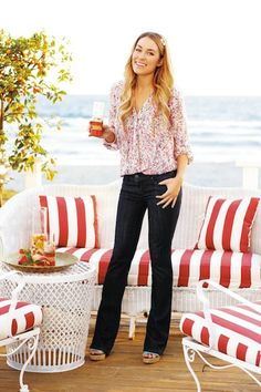 LC Lauren Conrad for Kohl's Summer Lookbook -- floral blouse, wide leg jeans, cork sandals