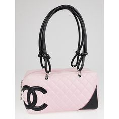 Pre-owned Chanel Pink Quilted Leather Cambon Ligne Bowler Tote Bag (€640) ❤ liked on Polyvore featuring bags, handbags, zippered tote bag, chanel tote, pink tote, tote handbags i pink tote bag