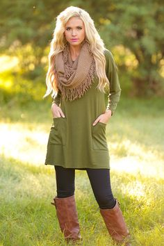 Cute As A Button Tunic - Olive (Small - 3XL) from Closet Candy Boutique