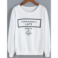SheIn(sheinside) White Round Neck Letters Print Loose Sweatshirt (€14) ❤ liked on Polyvore featuring tops, hoodies, sweatshirts, white pullover sweatshirt, sweatshirts hoodies, long sleeve sweatshirt, white sweat shirt and cotton sweat shirts