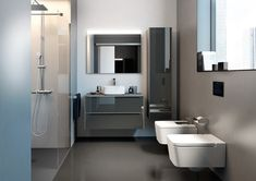 Modern contemporary bathrooms, kitchens and bedrooms suit designers in London design, supply, and installations by best designers in the UK. Big Bathrooms, Upstairs Bathrooms, Amazing Bathrooms, Contemporary Bathroom Lighting, Contemporary Bathrooms, Dalle Adhesive, Roca Bathroom, Wc Compact, Bathroom Trends