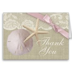 Vintage Beach and Burlap Thank You Greeting Card