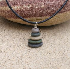 Lake Michigan 17 Inch Pebble Cairn Pendant Necklace by StoneCairns