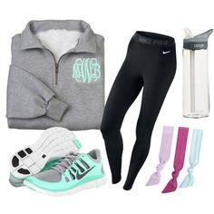 """""""Sporty prep."""" grey monogram half-zip sweatshirt, black Nike running leggings, teal sneakers"""