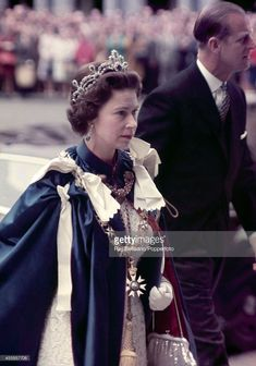 HM wearing the sapphire tiara, at some point in 1970s