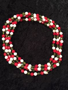 """Long Necklace Plastic Beads Vintage Red Green White Ugly Christmas 36"""""""