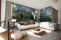 Modern living room with an open outside view