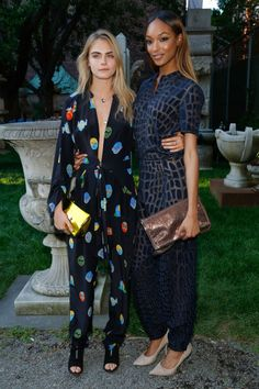 Cara Delevingne at the Stella McCartney Spring 2015 Presentation with Jourdan Dunn. See all of the model's best looks.