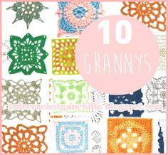 Todo crochet: 10 patrones de grannys tejidos al crochet / cuadro...