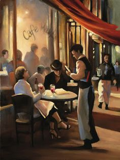 San Francisco images by artist Carol Jessen. Art Watercolor, Ladies Who Lunch, Cafe Art, Paris Cafe, Building Art, Paintings I Love, Painting Prints, Art Challenge, Flappers