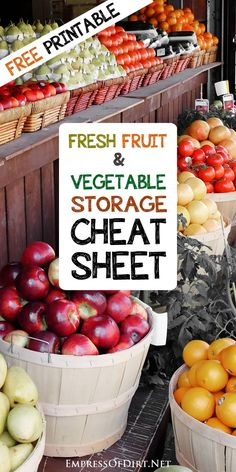 Fridge or no fridge? That is the question. This printable cheat sheet shows you which fresh fruits and vegetables should be stored in the fridge and which ones are best kept on the countertop.
