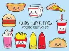 Premium Vector Clipart Kawaii Junk Food by LookLookPrettyPaper