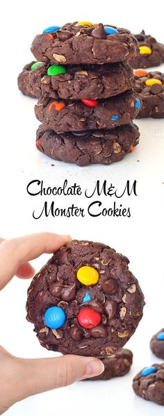 The BEST Chocolate M&M Monster Cookies made with peanut butter | Sweetest Menu