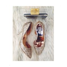 """Glittery Gold D'orsay Pumps Perfect for your NYE party or for that fun pop to an understated work outfit! Very comfortable, excellent condition, worn twice for PoshFest & also a mini photo shoot. D'orsay style, gold glitter, approx 4"""", original box, dust bag, extra heel caps all included. More pics upon request. $100, will price drop. NO PP NO TRADES Badgley Mischka Shoes Heels"""